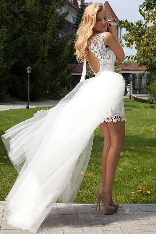 Sheath Scoop Neck Ivory Lace Tulle Detachable Ruffles Open Back Wedding Dresses