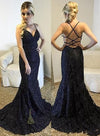 Spaghetti Straps V-Neck Black Mermaid Sparkly Sexy Beads Tulle Unique Prom Dresses