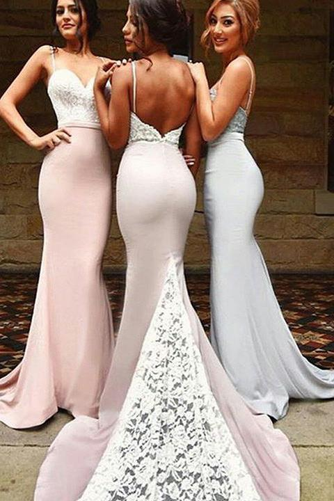 Spaghetti Straps Sweetheart Sleeveless Appliques Lace Mermaid Backless Bridesmaid Dresses