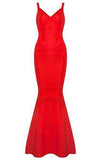 V-neck Backless Fishtail Bandage Red Formal Maxi Dress Long
