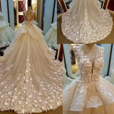 Lace Appliqued And Flowers Chapel Train Pretty Ball Gown Wedding Dresses