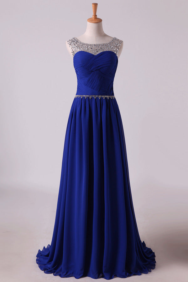Scoop Prom Dresses A Line Pleated Bodice Chiffon With Beads Dark PBTS9A1E