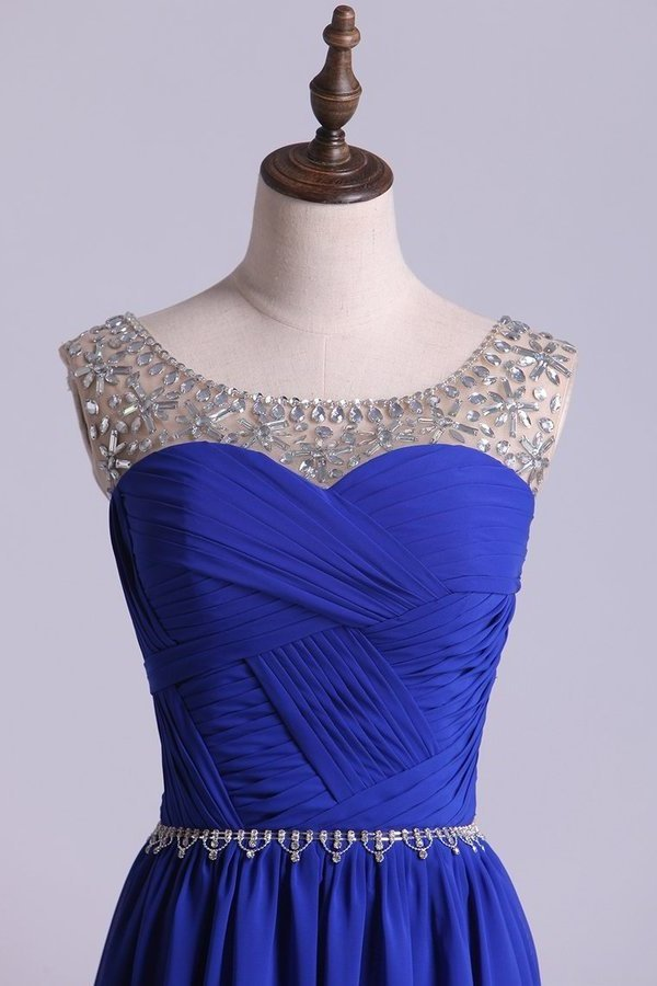 Scoop Prom Dresses A Line Pleated Bodice Chiffon With Beads Dark Royal P5HQ9PMX