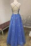 Sparkly A Line Spaghetti Straps Tulle Prom Dresses Beaded Long Evening STK20472