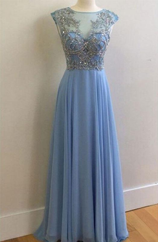 New Arrival Real Made Charming Beading long Prom Dresses Evening