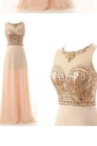 Round Neck Beading Bodice Long Chiffon Prom Dresses Evening Dresses