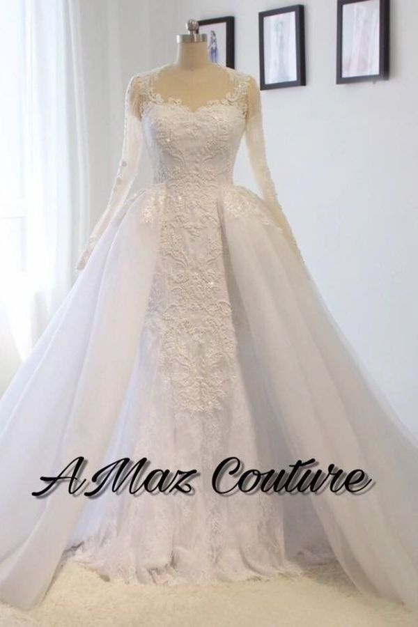 Scoop Long Sleeves Wedding Dresses Mermaid Tulle With Beading PL7KKPYK