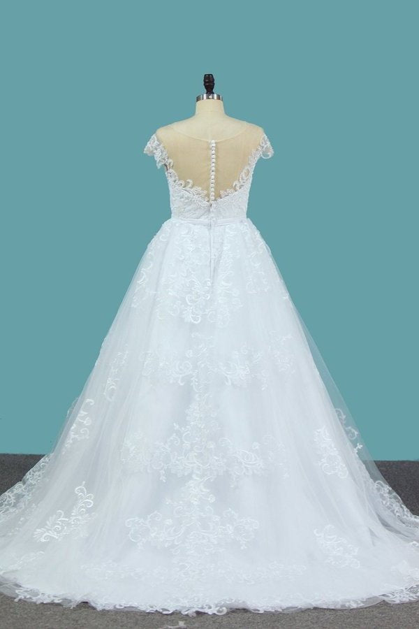 2020 A Line Lace Cap Sleeve Scoop Wedding Dresses With Beads PZ98FJLK