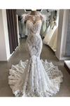 Luxury Lace Mermaid Wedding Dress With Train Sexy Open Back Pearls Wedding STKPE5AS8YA