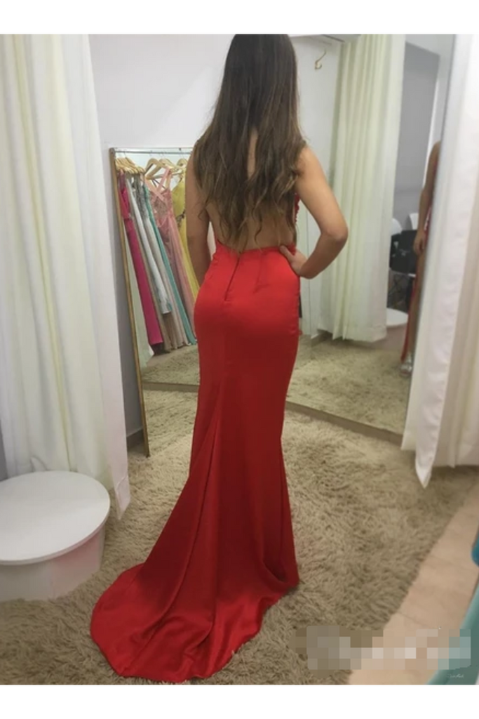 Illusion SweetHeart Neck Backless Spaghetti Red Prom Dresses With Sweep STKP7GFQPJ3