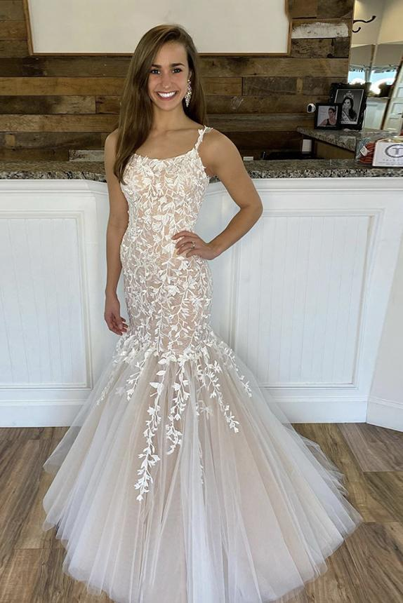 Charming Mermaid Lace Tulle Spaghetti Straps Long Appliques Prom STK20484