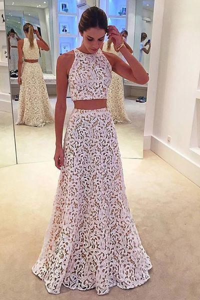 White lace round-neck two pieces A-line long evening dresses formal dresses from Cute dress