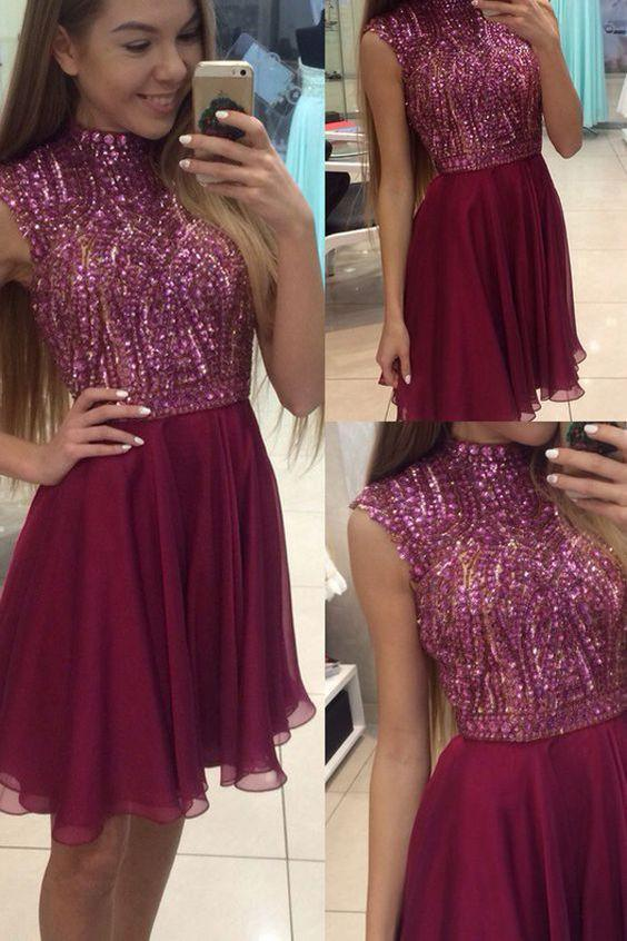 Sexy Halter Short Sleeveless Maroon Homecoming Dress with Beading