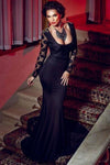 Trendy Series Long Lace Black Cocktail Evening Party Dress