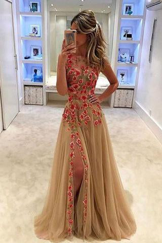 Unique Champagne Tulle Applique Long with Slit Sleeveless Floor Length Prom Dresses