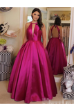 Sexy Plunging V Neckline Satin Ball Gown Evening Dress Backless Prom STKPKGFD3CE