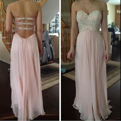 Pink prom Dress charming Prom Dresses Long prom Dress backless prom dress Party dress