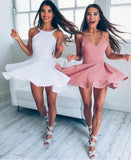 Sexy Cute A-Line Short Prom Dress with Straps Sleeveless Mini Graduation Dress