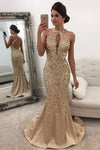 Mermaid Sleeveless Halter Sequins Golden Open Back Sweep Train Satin Prom Dresses