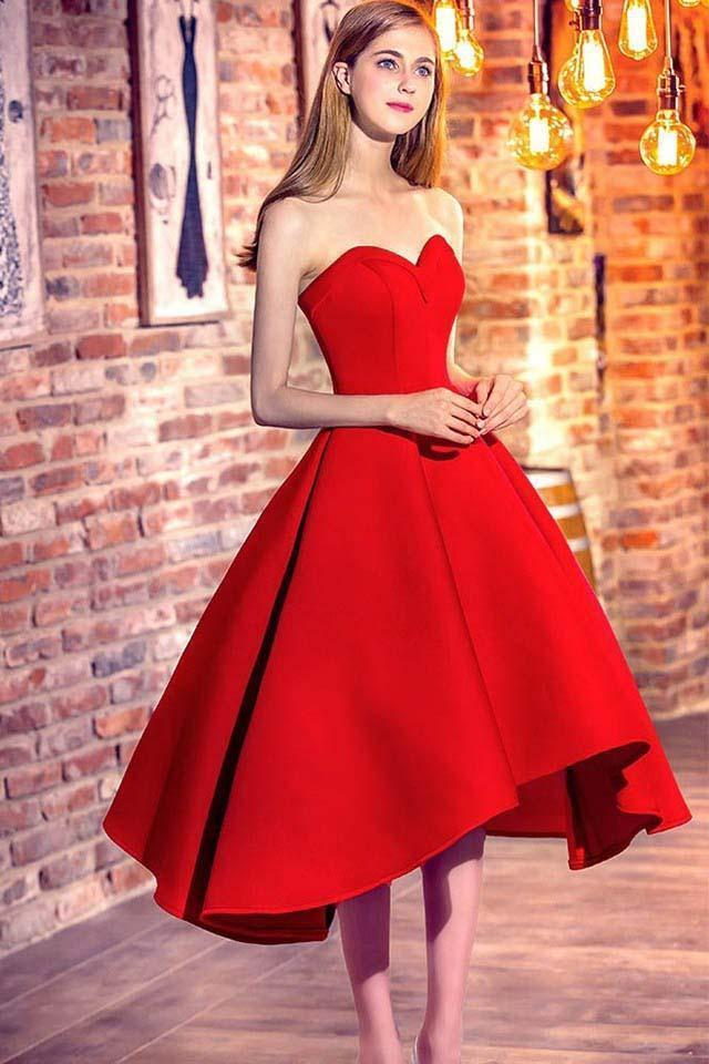 Princess Sweetheart Red Satin with Ruffles Asymmetrical High Low Classic Prom Dresses