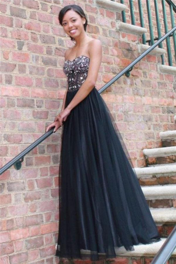 Long Black Sexy Tulle Strapless Lace up Sweetheart A-Line Beads Prom Dresses