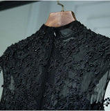 Vintage A Line Chic Long Black Lace Cap Sleeves High Neck Beads Appliques Prom Dresses