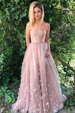 Princess A-Line Strapless Pink Lace Sleeveless Tulle Appliques Pockets Prom Dresses