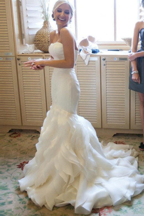 Mermaid Sweetheart Court Train Organza White Strapless Open Back Wedding