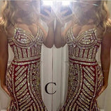 Luxurious Mermaid Spaghetti Straps V-Neck Sparkly Open Back Prom Dress Party Dress
