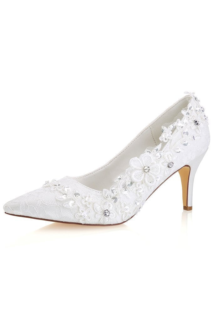 Ivory High Heels Wedding Shoes with Appliques Fashion Lace Woman Dress