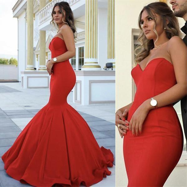 Red Chic Strapless Sleeveless Sweetheart Mermaid Satin Full-length Prom Dresses