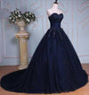 Princess Ball Gown Sweetheart Navy Blue Beads Ruffles Long Tulle Prom Dresses with Lace up