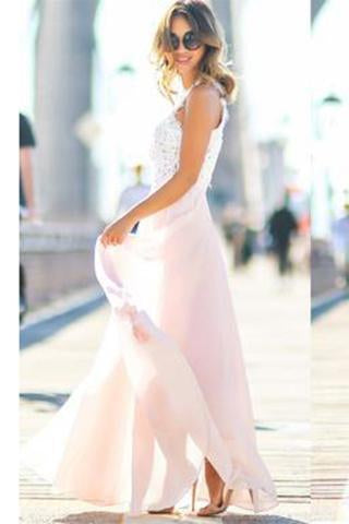Modest Chiffon Long Blush Pink White Lace A-Line High Neck Floor-Length Prom Dresses