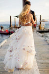 Stylish A-Line Two Piece Spaghetti Straps V-Neck Tulle Long Wedding Dresses with Flowers