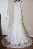 Simple Mermaid Lace Appliques Ivory Cap Sleeves Button Long V Neck Wedding Dresses