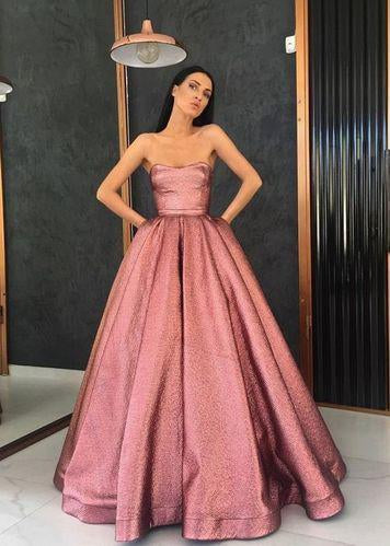 Unique Strapless A Line Long Pink Satin Floor Length With Pockets Prom Dresses
