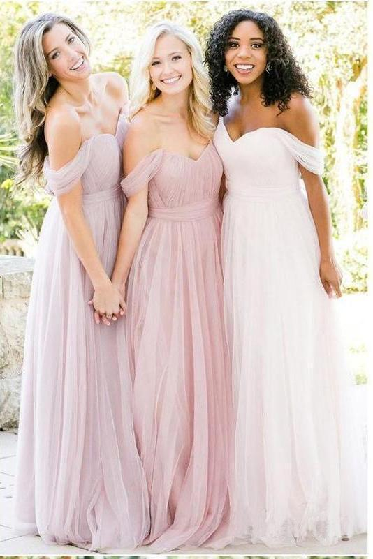 New Style A Line Tulle Sweetheart Off the Shoulder Long Ruffles Bridesmaid Dresses