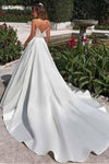 Satin Neckline A-line Open Back Lace Wedding Dress With Pockets Lace Appliques