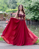 Sweetheart Appliques Beading Strapless Red A-Line Chiffon See-through Fashion Prom Dresses