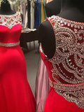 New Style Sparkle Red Beaded Bodice Long Lace Satin Mermaid Sexy Prom Dresses