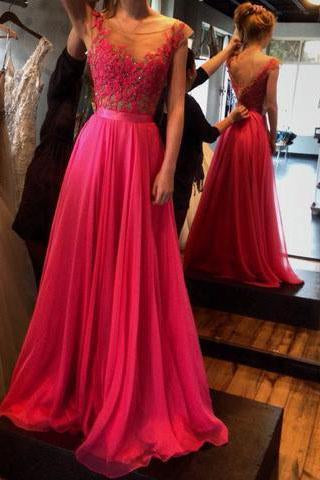 Pd407 Charming Appliques A-Line Prom Dress Chiffon Prom Dress Long Prom