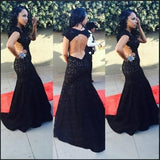 New Style High Neck Backless Lace Black Open Back Mermaid Cap Sleeve Evening Dresses