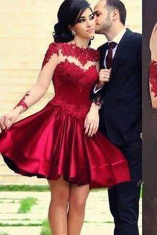 Short Ball Gown High Neckline with Long Sleeves Lace Dark Wine Red Backless Lace Prom Dress