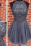 Sexy Backless Junior Short Open Back Halter Beads Tulle Gray Prom Dress Homecoming Dress