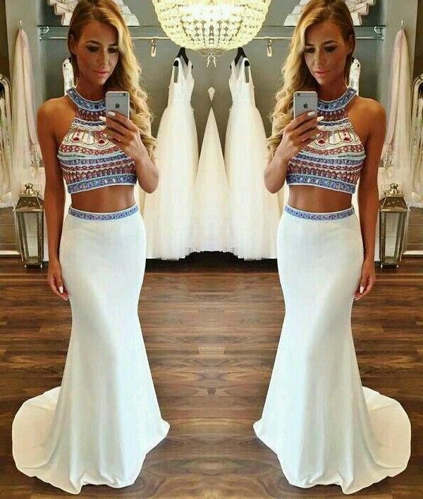 Hot Sale Charming Two Pieces Beading Mermaid Evening Dress Chiffon 2 Pieces Formal Dress