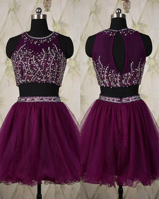 Two Pieces Silver Beading Short Sweet 16 Dress Tulle Halter Open Back Homecoming Dresses