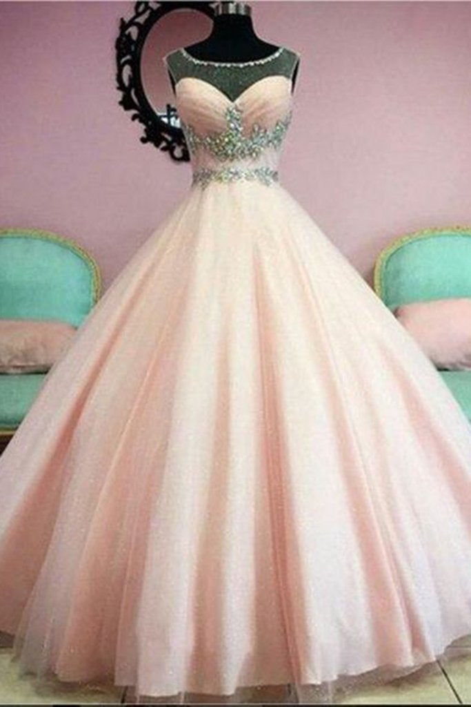Light orange organza beading see-through long prom dress princess ball gown prom