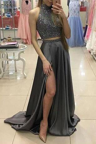 Two Pieces Beaded Gray Front Split Long Modest Prom Dresses Sparkly Prom Dresses