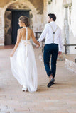 Simple Jewel Chiffon Lace Top Wedding Dress Lace Tulle Beach Wedding Dress with belt