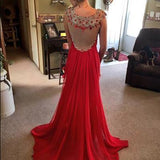 Red Beading Real Made Prom Dresses Long Evening Dresses Prom Dresses On Sale